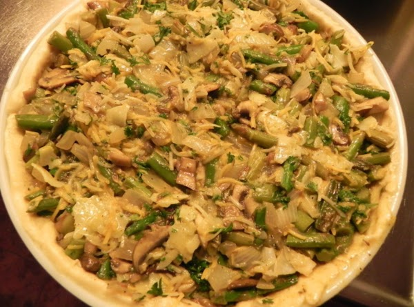 In a large bowl, combine the remaining ingredients; stir in asparagus mixture. Pour into...