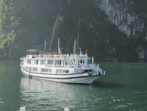 Photo: Halong Bay ; typical cruise boat [ comfy cabins with toilet/shower]