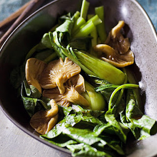 Steamed Asian Greens with Oyster Mushrooms.