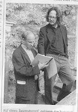 Photo: THE DIRECTOR LUC BONDY, SCORE IN HAND, AND THE COMPOSER LOOKING DOWN, HANDS IN POCKETS