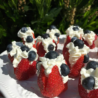 Red, white and blue chantilly cream strawberries #SundaySupper.