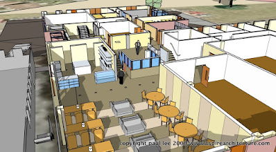 Photo: Phase 1 Plan Perspective: Site view: Refurbishment of Engineering Block in Mahon, County Cork, Ireland, completed January 2008. The project was carried out entirely in SketchUp Pro/ LayOut
