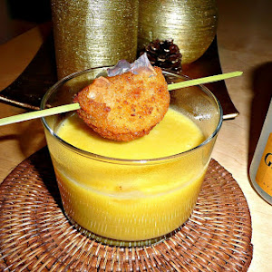 Pumpkin Cream with Blue Cheese, Camembert skewer with Gin
