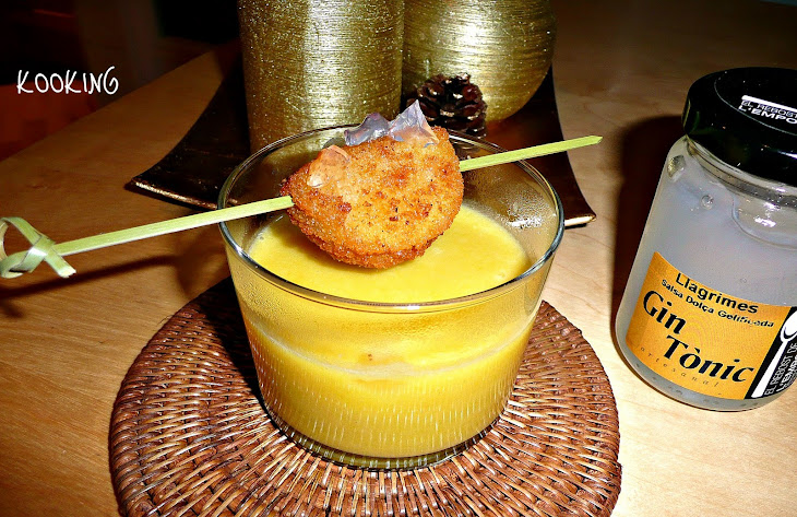 Pumpkin Cream with Blue Cheese, Camembert Skewer with Gin Recipe