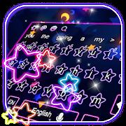 Sparkling Giltter Neon Pink Star Keyboard