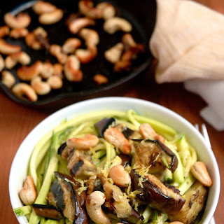 Coconut Turmeric Zucchini Noodles with Grilled Eggplant and Cashews