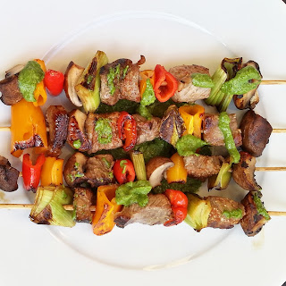 Beef Shish Kabobs with Cilantro Pesto