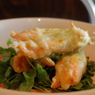 Fried Zucchini Blossoms With Goat Cheese and Zucchini Pesto