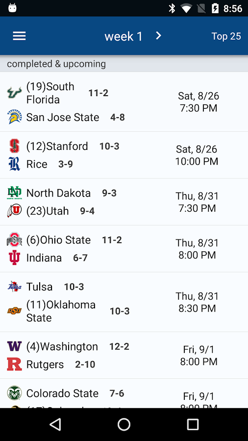 Sports Alerts - NCAA Football edition- screenshot