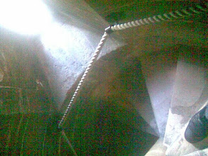 Photo: Back inside the church stairwell, looking down past my foot..the lower steps recently re-made after the years of bell-ringers making their way up to the belfry.