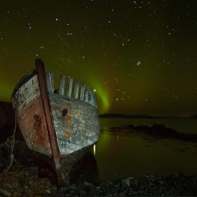 Last Port by Bragi Ingibergsson - Transportation Boats ( water, iceland, brin, ship, bragi j. ingibergsson, aurora borealis, northern lights, night, boat )