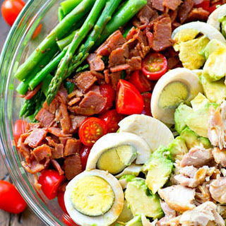 Springtime Asparagus Cobb Salad with Red Wine Vinaigrette