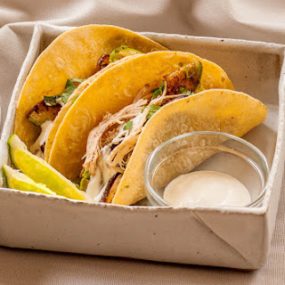Chicken Tacos with Seared Avocados and Green Onions