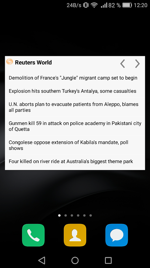 RSS Reader– captura de ecrã