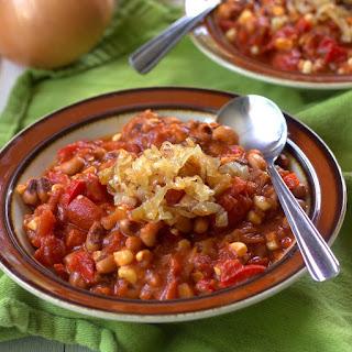 Smoky Sweet Corn, Black-Eyed Pea and Caramelized Onion Chili.