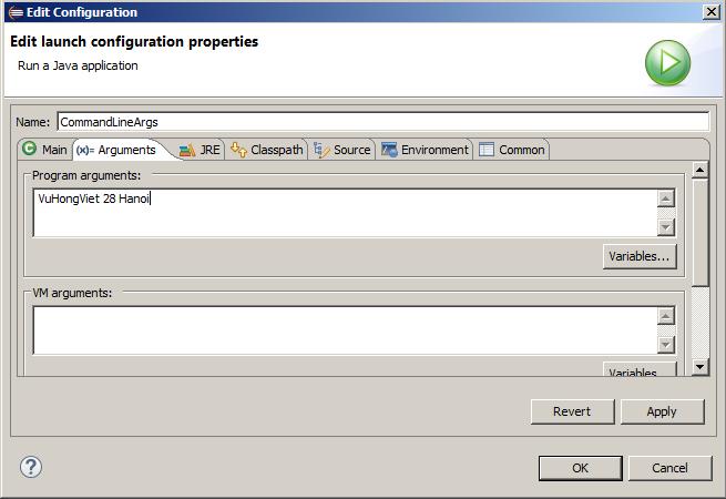 Java - Truyền đối số command line trên Eclipse