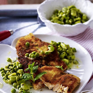 Breaded Trout with Zesty Peas and Fava Beans.