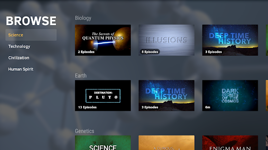 CuriosityStream (Android TV)- screenshot thumbnail