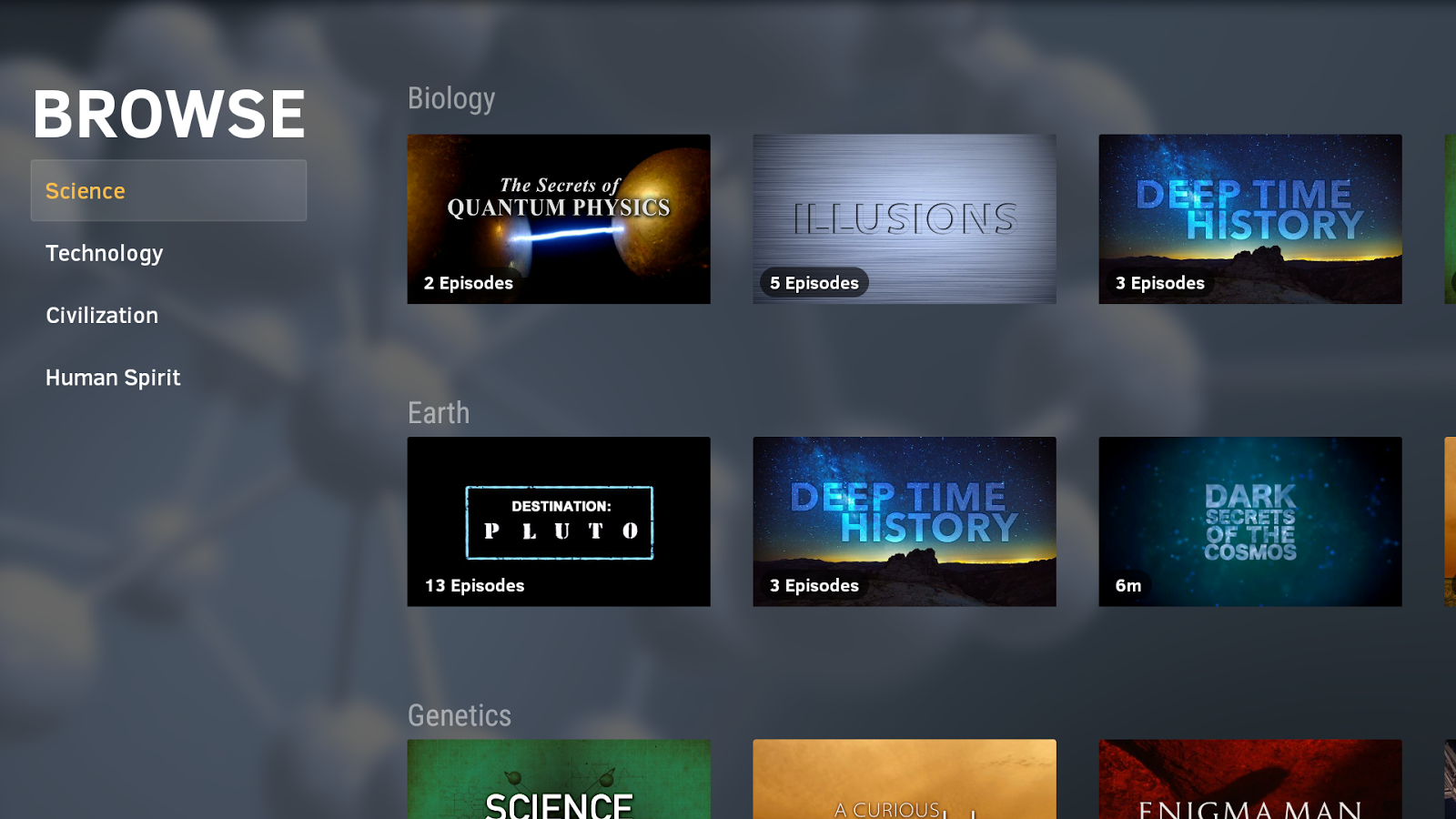 CuriosityStream (Android TV)- screenshot