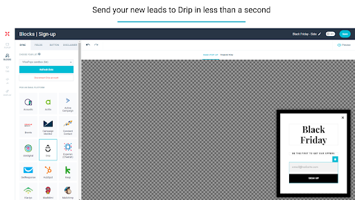 Drip and WisePops Integration Screenshot