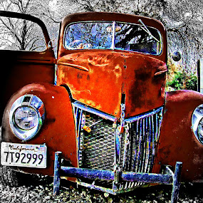 Jimmy Flynn (Revisited) 1 by Brandon Rose - Transportation Automobiles ( red, color, black and white, cars, chrome, leaves, landscape )