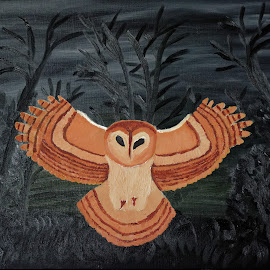 tawny owl by Paul Robin Andrews - Painting All Painting ( owl, woodland, oil painting )