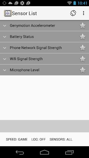 Sensor List screenshot