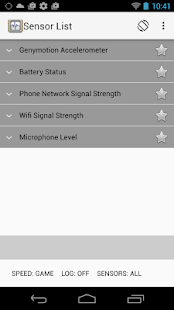 Sensor List Screenshot