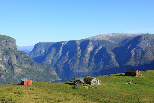 Norway-Aurlandsfjord-sod-house - A sod house in the hills above Flam, Norway.