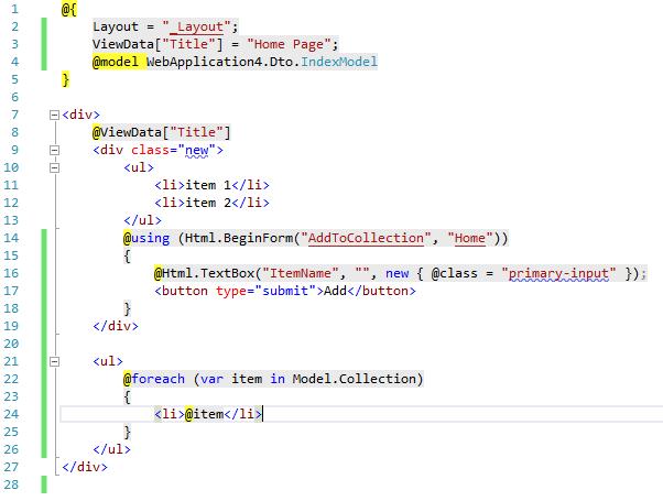 Razor ukážka kódu