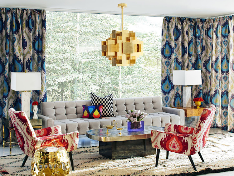 Jonathan Adler furniture. Pictured: puzzle chandelier and pendants.