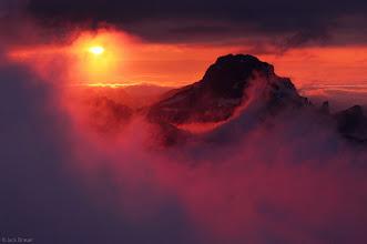Photo: sunset from Triglavski Dom on Triglav - July. The peak in the distance is Razor.