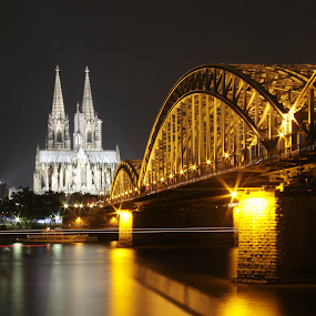 Hohenzollern Bridge & Cologne Cathedral by Wah Yuen Lau - Travel Locations Landmarks ( cologne, pwclandmarks, hohenzollern bridge, germany, bridge, cologne cathedral, night, lights,  )