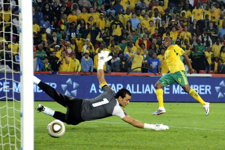 A file photo of Katlego Mphela scoring a last minute goal for Bafana Bafana during a Africa Cup of Nations qualifier against Egypt at Ellis Park in Johannesburg.