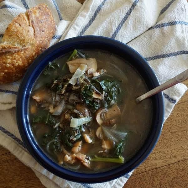 Smoked Chicken, Kale, And Mushroom Soup, Iris Recipe