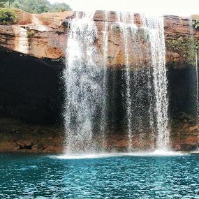 Krang Suri Falls by Abhisek Datta - Landscapes Waterscapes ( falls, blue, water )
