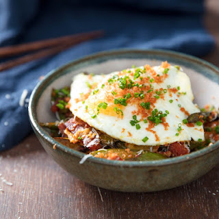 Kimchi and Asparagus Stir-Fry With Spam and Fried Egg.