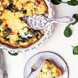 Spinach & Goat Cheese Quiche with Sweet Potato Crust.