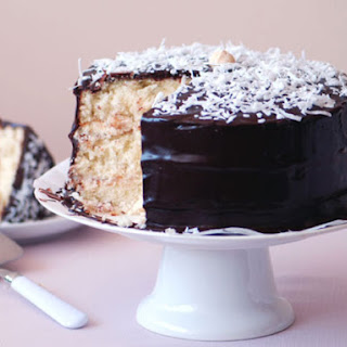 Coconut Layer Cake with Chocolate Glaze.