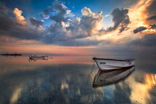 Morning Dimension by Bertoni Siswanto - Transportation Boats ( clouds, reflections, beach, transportation, sunrise, boat, landscape )