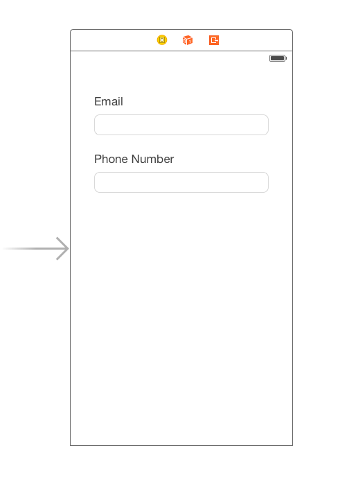 App running in simulator with form fields
