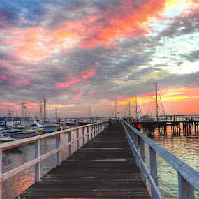 Pastel sky  by Ann Goldman - Novices Only Landscapes ( water, pastel, sky, pier, hull, marina,  )