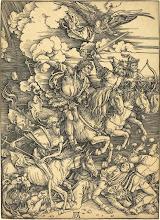 Photo: Albrecht Dürer (German, 1471 - 1528 ), The Four Horsemen, probably c. 1496/1498, woodcut, Ferdinand Lammot Belin Fund and William Nelson Cromwell Fund