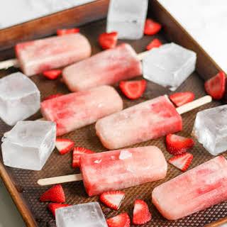 Strawberries and Cream Prosecco Popsicles.