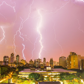 Lightning storm by Bruno Machado - City,  Street & Park  Vistas ( lightning, belo horizonte, night, storm, rain, city, city at night, street at night, park at night, nightlife, night life, nighttime in the city )