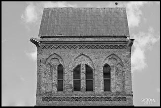 Photo: Der Turm der gothischen St. Marienkirche in der vorpommerschen Stadt Anlam erhielt nach dem 2. großen Krieg ein schlichtes Satteldach mit nur zwei Giebeln und hat eine Höhe von 64 Metern.