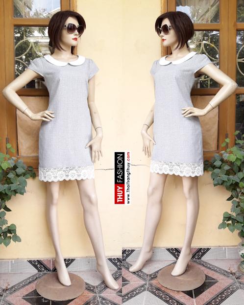 Váy suông công sở cổ sen phối ren V316 thời trang thủy