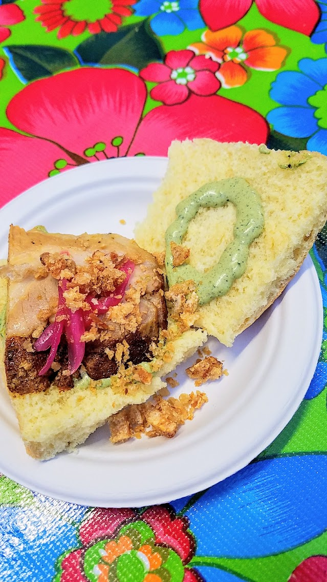 My Highlights of Feast 2017 - Scenes from Night Market, Greg Denton and Gabrielle Denton from Ox bring Ecuadorian Roast Pork Sandwich with pickled red onion and aji crielo mayo