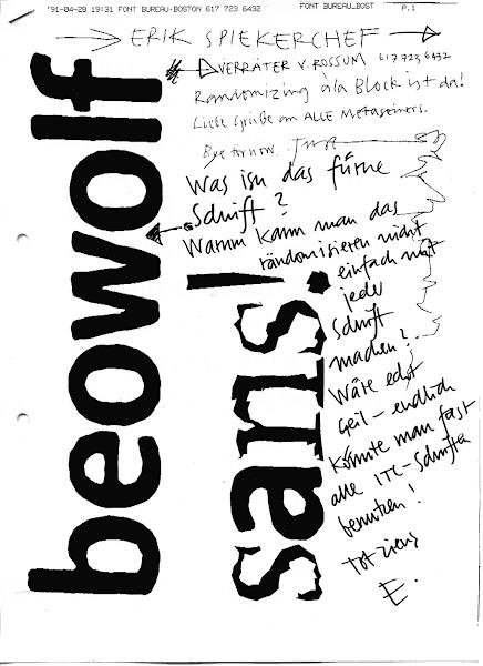 Photo: Beowolf-Fax Just von Rossum an Erik Spiekermann