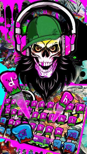 Graffiti Party Skull Keyboard Theme 10001004 screenshots 1